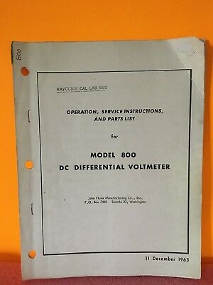 Fluke 800 Dc Differential Voltmeter Operation Service Instructions Parts List