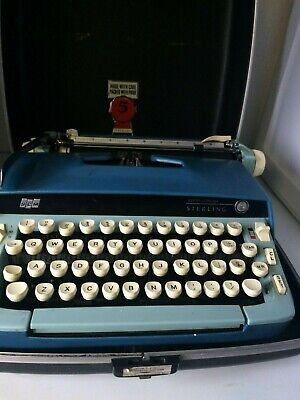 Vtng Portable Manual Smith Corona Sterling Turquoise Typewriter Whard Case