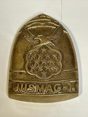 Vtg JUSMAG-K US JOINT MILITARY Advisor GROUP KOREA Brass Plaque Plate Patch