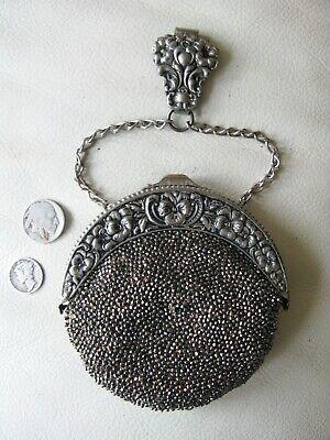Vintage Antique Chatelaine Purse French Cut Steel Purse Antique Handbag German Silver Sterling Chatelaine Clip