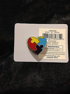 AUTISM AWARENESS HEART PUZZLE PIN