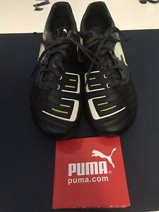 ccb0613f1c5 Puma Powercat 1.12 FG Size 8 102470 02 Black - Dark Shadow - White - Lime
