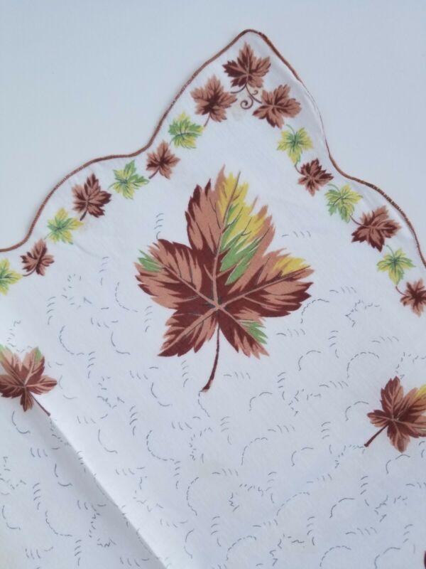 Vintage Ladies Hankie Brown Autumn Leaf