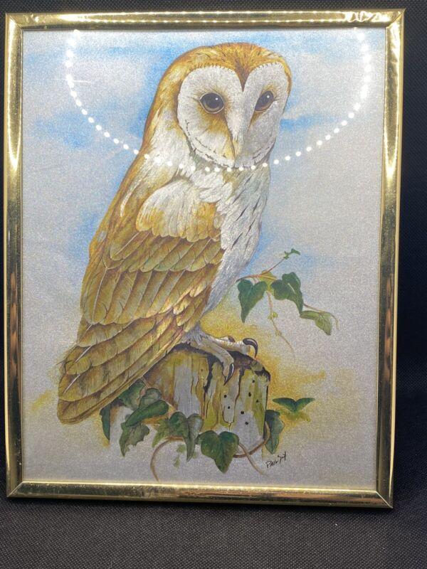 Vintage Framed Foil Art Owl On Stump Signed