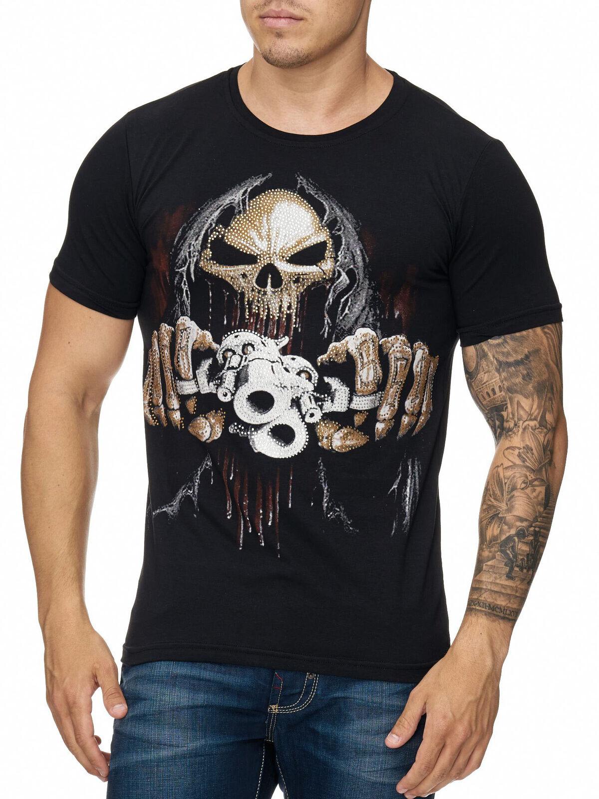 Herren T-Shirt Weiß Totenkopf Skull Federhaube Indianer Federschmuck John Kayna