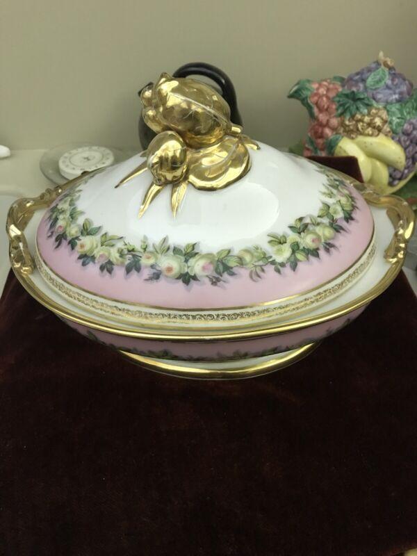 19C French Old Paris Floral Porcelain Vegetable Serving Dish w/ Cover