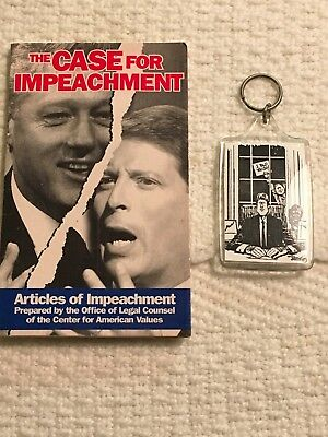 BILL CLINTON ROSS PEROT NOVELTY KEY CHAIN WITH SHREDDED CURRENCY, BOOK IMPEACH.