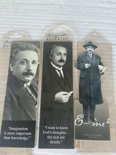 LOT of 3 ALBERT EINSTEIN BOOKMARKS in protective sleeve...NEVER USED