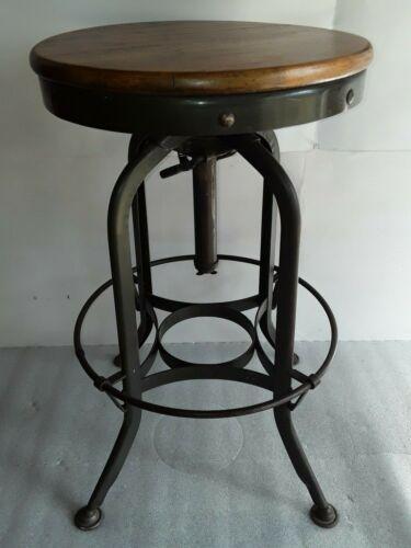 Antique TOLEDO wood& metal Industrial Drafting Stool vtg adjustable swivel chair