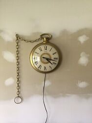 Vintage United Electric Wall Hanging Clock Shaped As A Pocket Watch