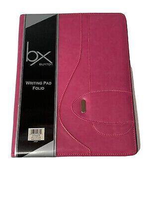 Buxton Writing Pad Folio Pink Faux Leather 8.5x11 New