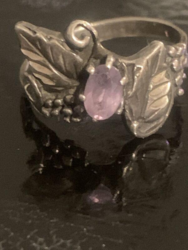 Vintage  Amethyst Sterling Silver Ring size 8.5