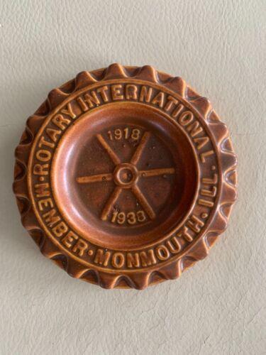 VINTAGE ROTARY INTERNATIONAL 1918-1938 MONMOUTH ILL TRINKET DISH ASHTRAY PLAQUE