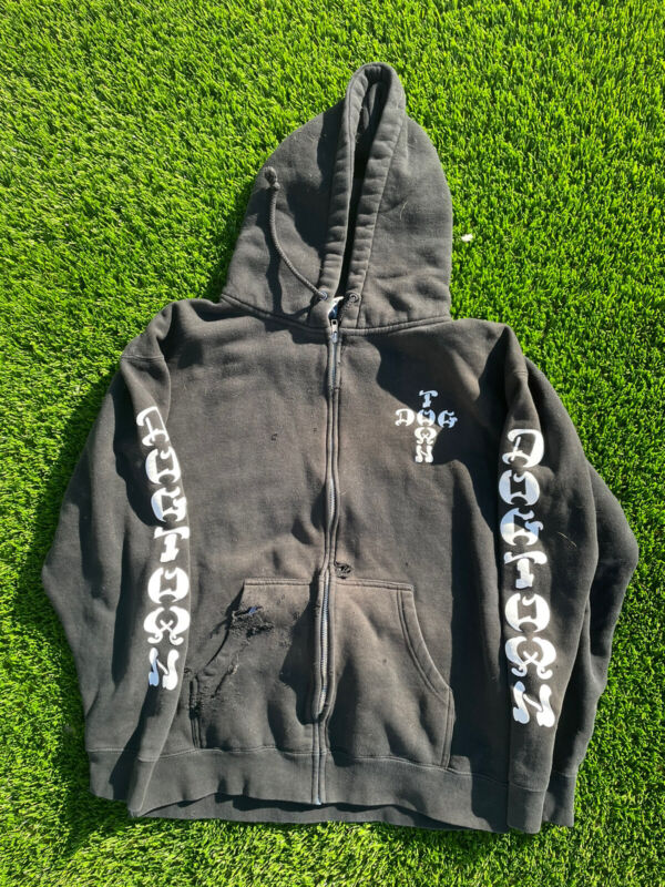 Vintage 90s Dogtown Skateboards Zip Up Hoodie Rare Design Venice DTS Large Faded