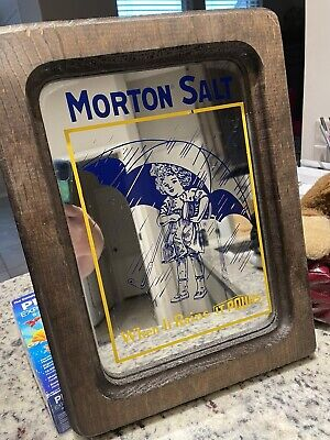 "Vintage Morton Salt Mirror in 15"" x 11"" Wood Frame"