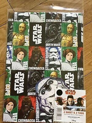 Star Wars Birthday Wrapping Paper (Inc 2 Sheets & 2 Tags)