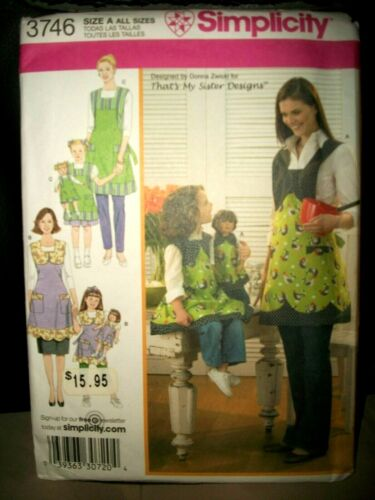 """Simplicity 3746 Pattern MISS CHILD 18"""" DOLL Matching Full Aprons UNCUT ALL Sizes"""