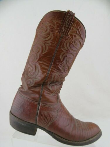 LUCCHESE, Brown, Sz, 8.5, D, Men, Lizard-Skin, Round-Toe, Cowboy, Boots