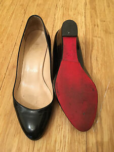 Authentic Christian Louboutin patent leather wedges