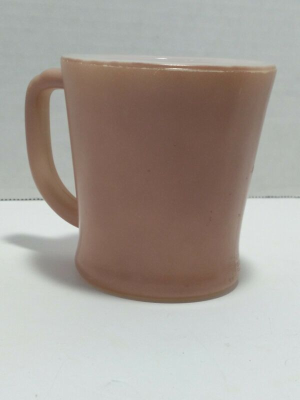 Vintage Dark Pink D- Handle Pink Milk Glass Cup Mug- FIRE-KING Ware Made in USA
