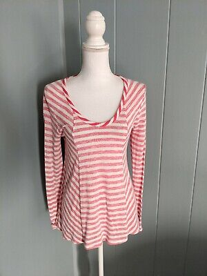 Anthropologie Saturday Sunday Women's Small Red Cream Striped T-shirt Top