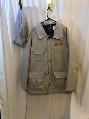 Sportsmaster Coca-Cola Zip Up Tan Coat Hooded Jacket USA XXL