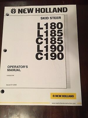 New Holland Skid Steer L180 L185 C185 L190 C190 Owners Operators Manual