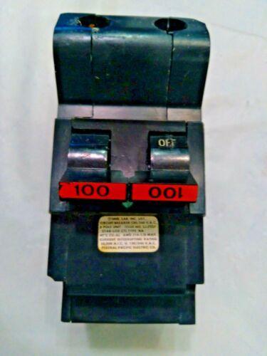 FEDERAL PACIFIC 100 AMP 2 POLE STABLOK CIRCUIT BREAKER TYPE NA 120/240VAC