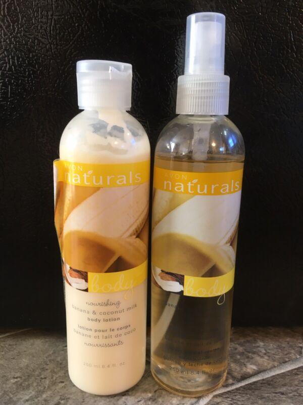 Avon Naturals BANANA & COCONUT MILK Body Lotion 8.4 oz Body Mist SPRAY