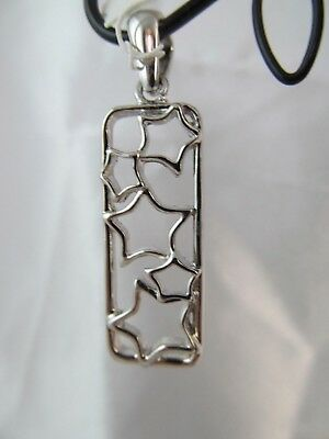 NWT LIA SOPHIA SILVER STARS RECTANGLE PENDANT SLIDE, Open Work, Shiny Rectangle Slide Pendant