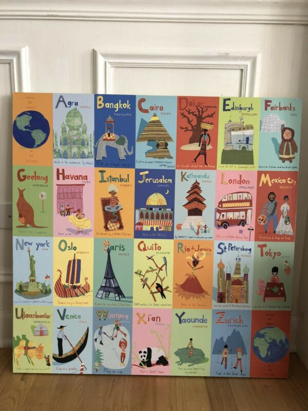 Nursery or Kids Room Canvas: Land of Nod Exploring World Art Unisex