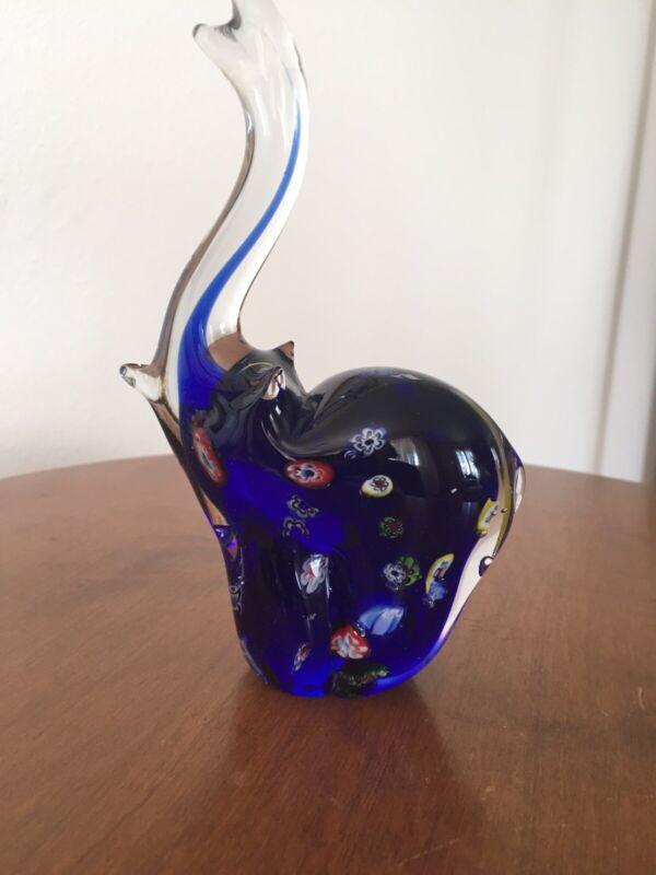 """Glass Elephant Figurine Blue 6"""""""