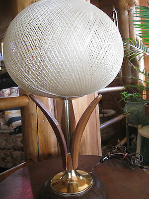 Vintage Modern Danish(?) Lamp Wood Teak Table Lamp Mid Century