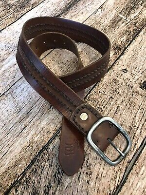 Abercrombie and Fitch men's leather belt 32 Brown Strap Vintage Look Jute Stitch