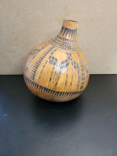 Vtg Kenyan Carved Art Gourd Animal  Carving Display 14