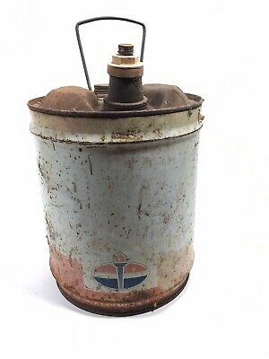 Vintage Amoco Round Metal Gas Can Fuel Station 5 Gallon Art Prop Decor