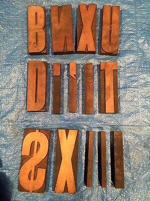 Large 6 Antique Wood Letterpress Printing Press Type Block Letters Typeset