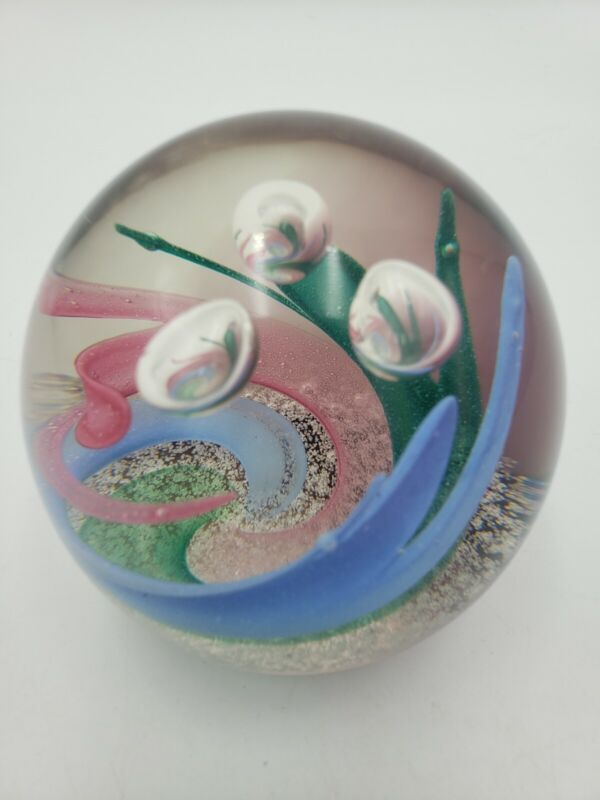 Caithness Crystal Ring O Roses Pink, Green & Blue Twirl  Paperweight  Scotland