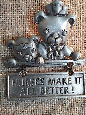 Vintage JJ Jonette Nurses Make It All Better Teddy Bear Theme Brooch. A4