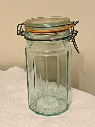 Vintage Hermetic Clear Glass Jar MADE IN ITALY, Wire Latch Canister 8""