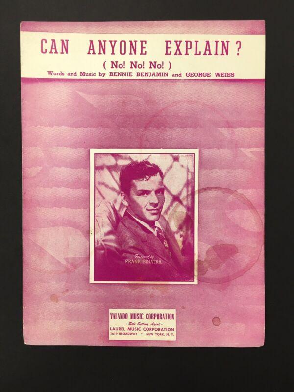 Can Anyone Explain ( No! No! No! ) Sheet Music Frank Sinatra 1950 Benjamin Weiss