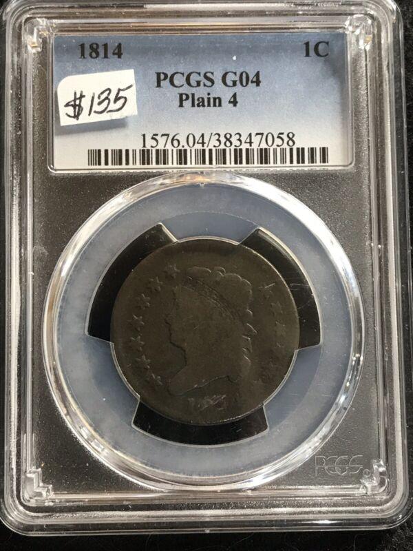 1814 Classic Head Large Cent, Plain 4, PCGS G4