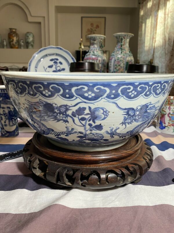 Superb 14'' Large Antique Chinese Daoguang Blue And White Bowl