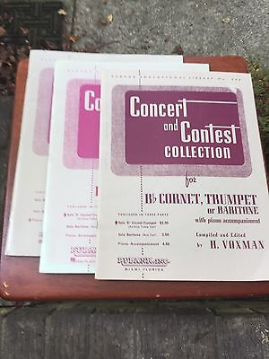 Used, Concert and Contest Collection, B Flat Cornet, Trumpet, Baritone, Piano 3 Books for sale  Summerville