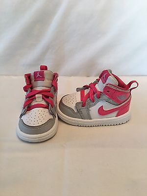 Nike Air Jordan 1 Mid Flex Infant/Toddler Girls White/Pink/grey Shoes~size 3 C