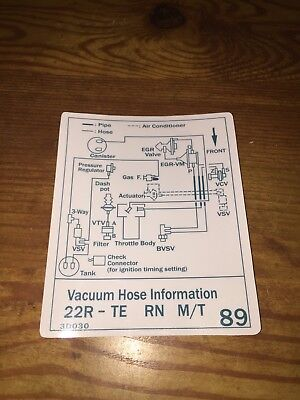 1987 Toyota Pickup Truck/4runner Turbo Vacuum Diagram Decal Repro 22rte #89