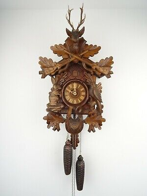 Vintage Antique German Cuckoo Wall Clock 8 day Melody Black Forest