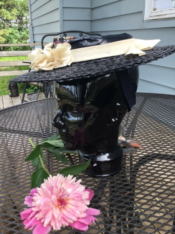 VTG ANTIQUE TILT SAUCER PLATTER HAT W/RIBBON NAVY BLUE STRAW