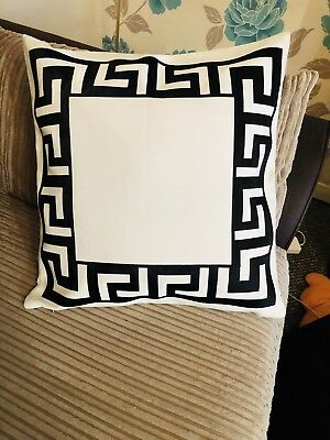 Greek Border Key Ivory And Black Versace Border Decorative Pillow Throw Cover ()