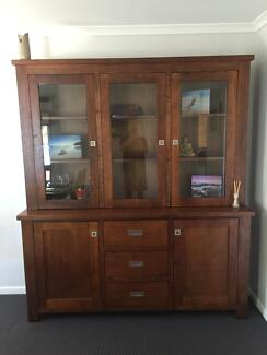 As New - large wood with glass doors dinning cabinet and hutch Buderim Maroochydore Area Preview